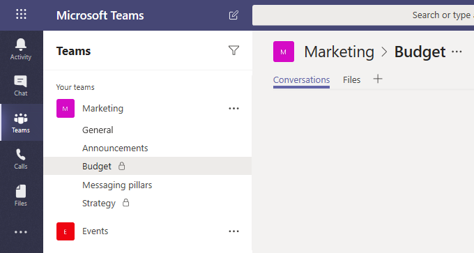 Image showing Microsoft Teams features that allows team members to private channels