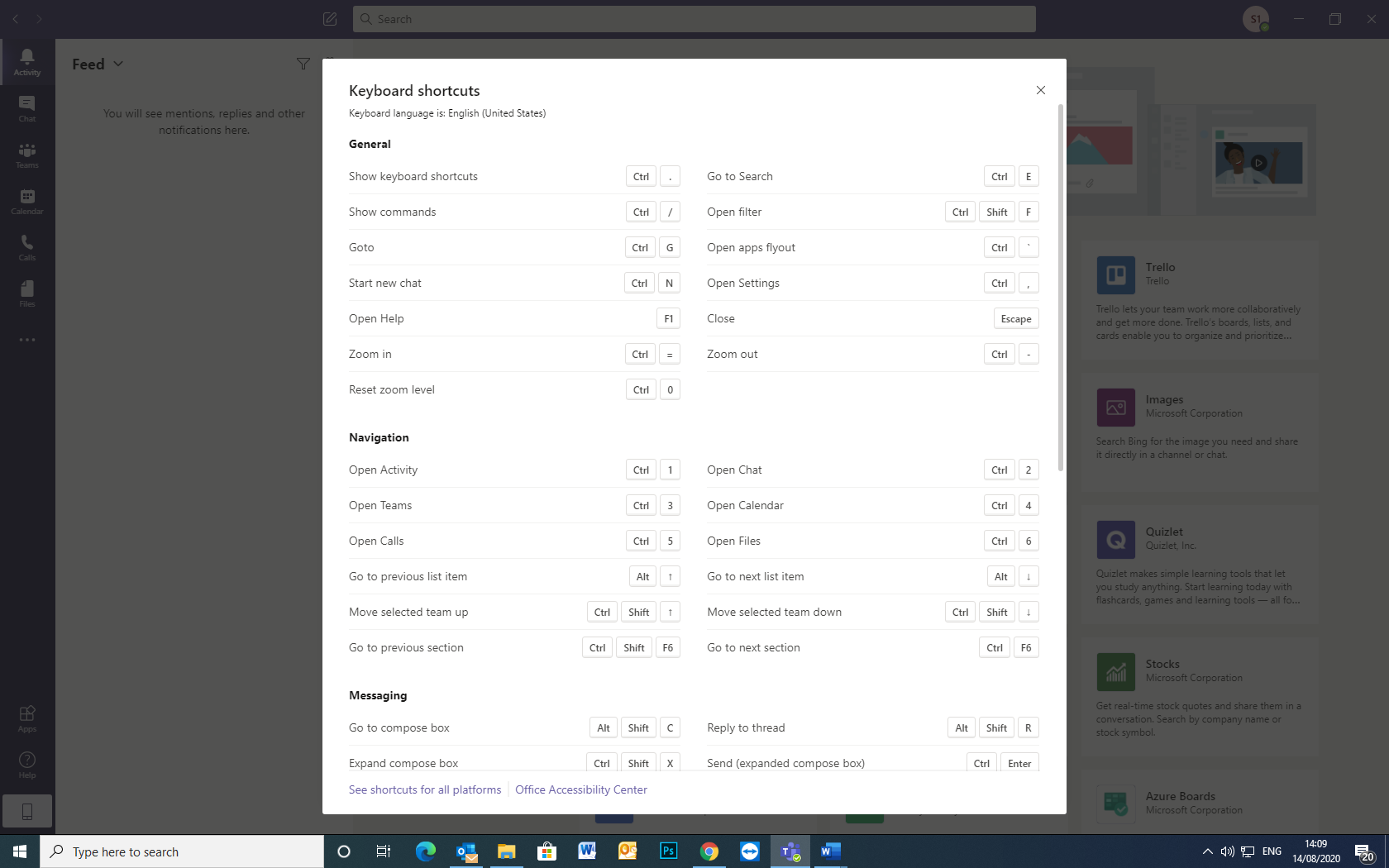 Image depicting keyboard shortcuts and commands in Microsoft Teams.