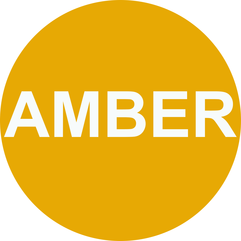 """A amber circle with the words """"amber""""."""