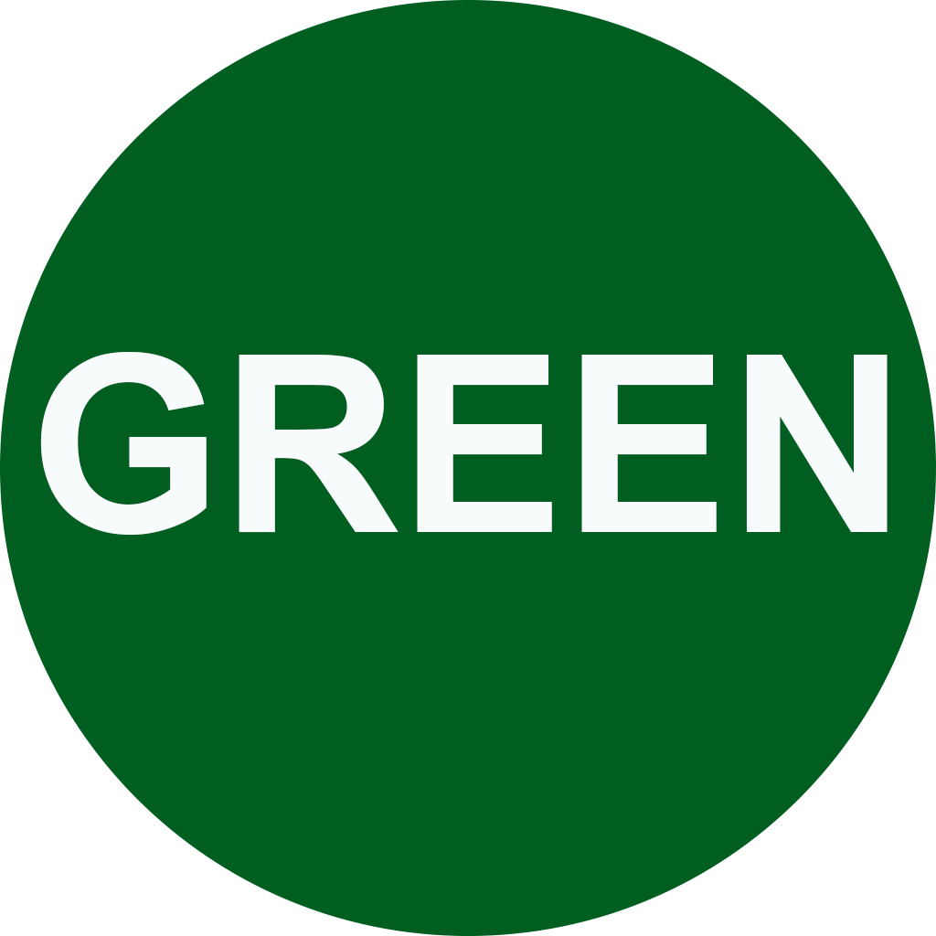 """A green circle with the words """"green""""."""