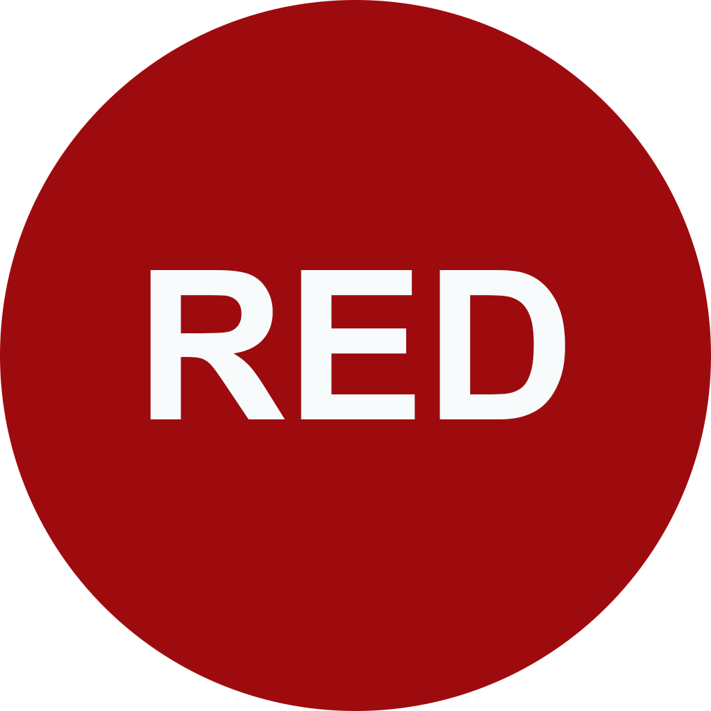 """A red circle with the words """"red""""."""